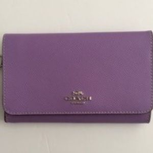Coach Cross Grain Leather Flap Phone Wallet F30205